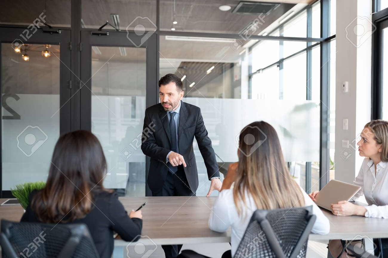 Mature businessman addressing to team of professionals in meeting room - 155328191