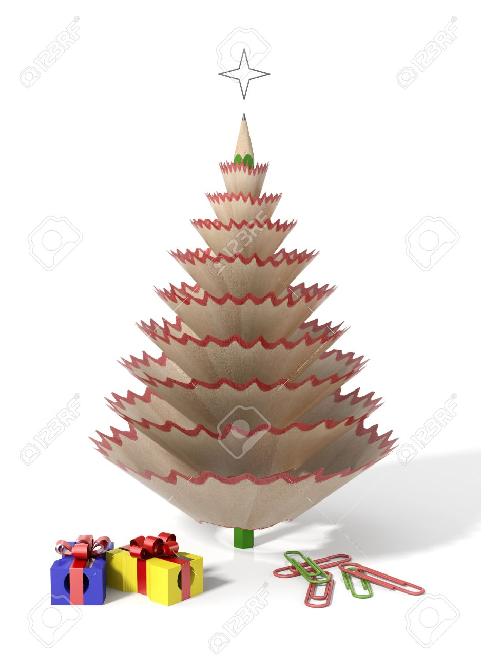 Pencil Christmas Tree.Christmas Tree Made With A Pencil And Its Wooden Shavings With