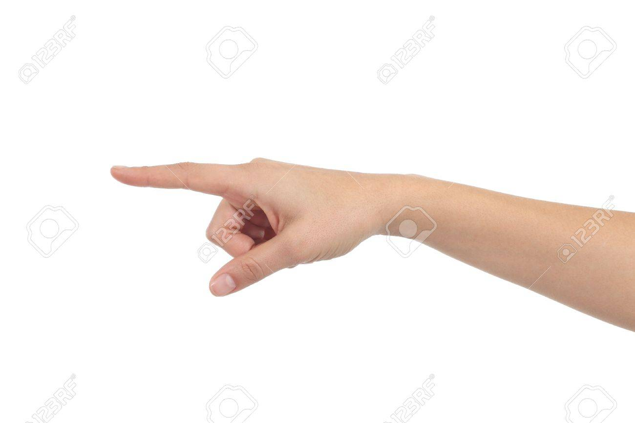 Woman hand pointing the finger on a white isolated background Stock Photo - 16886252