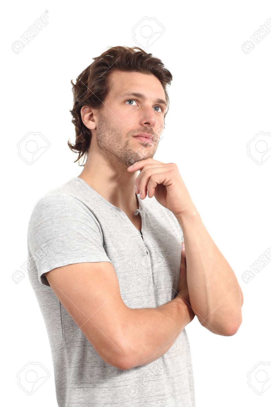Casual Man Thinking With A Hand In His Chin And A White Isolated
