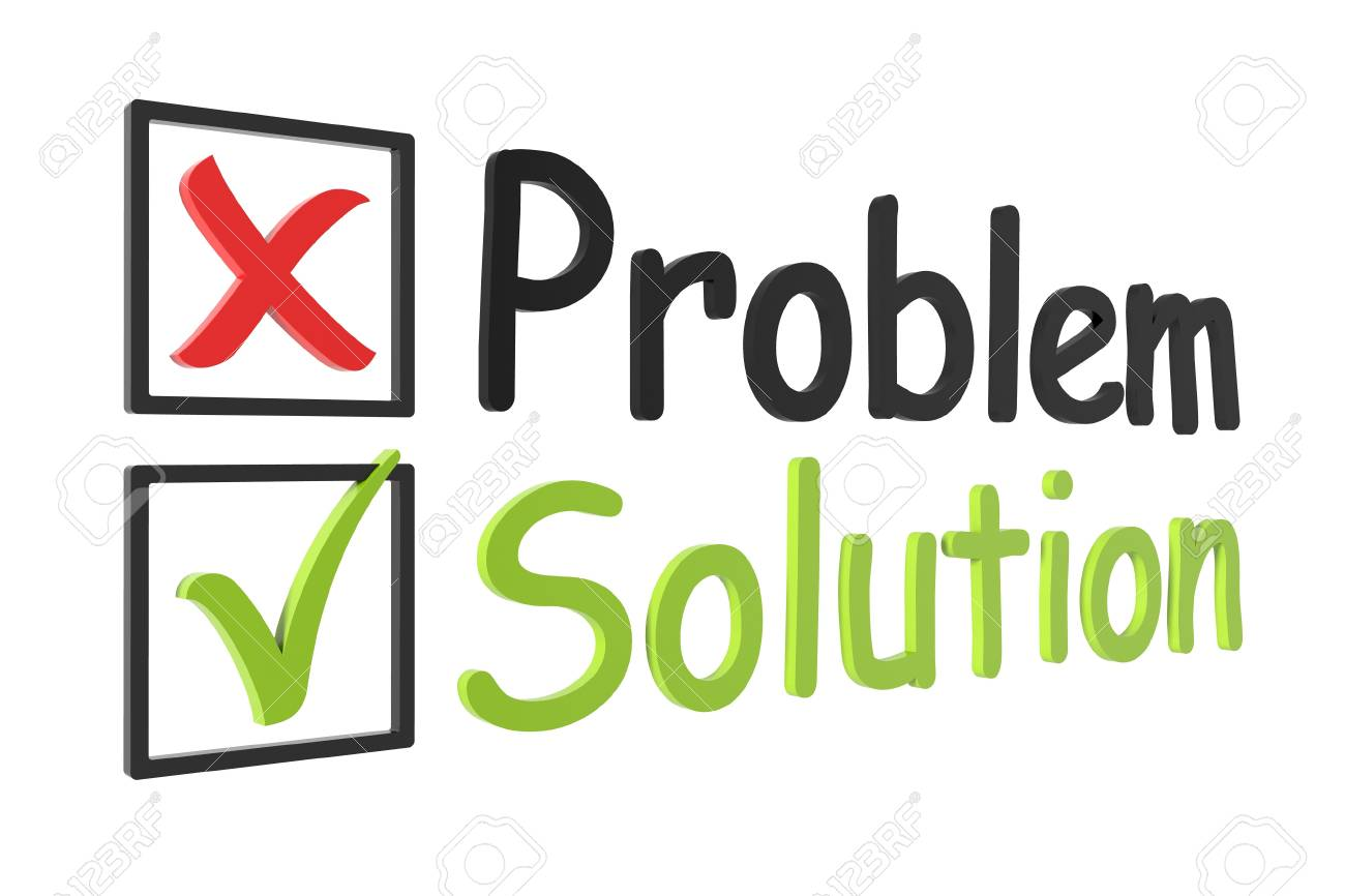 Tick and cross problem and solution on a white isolated background Stock Photo - 17142672