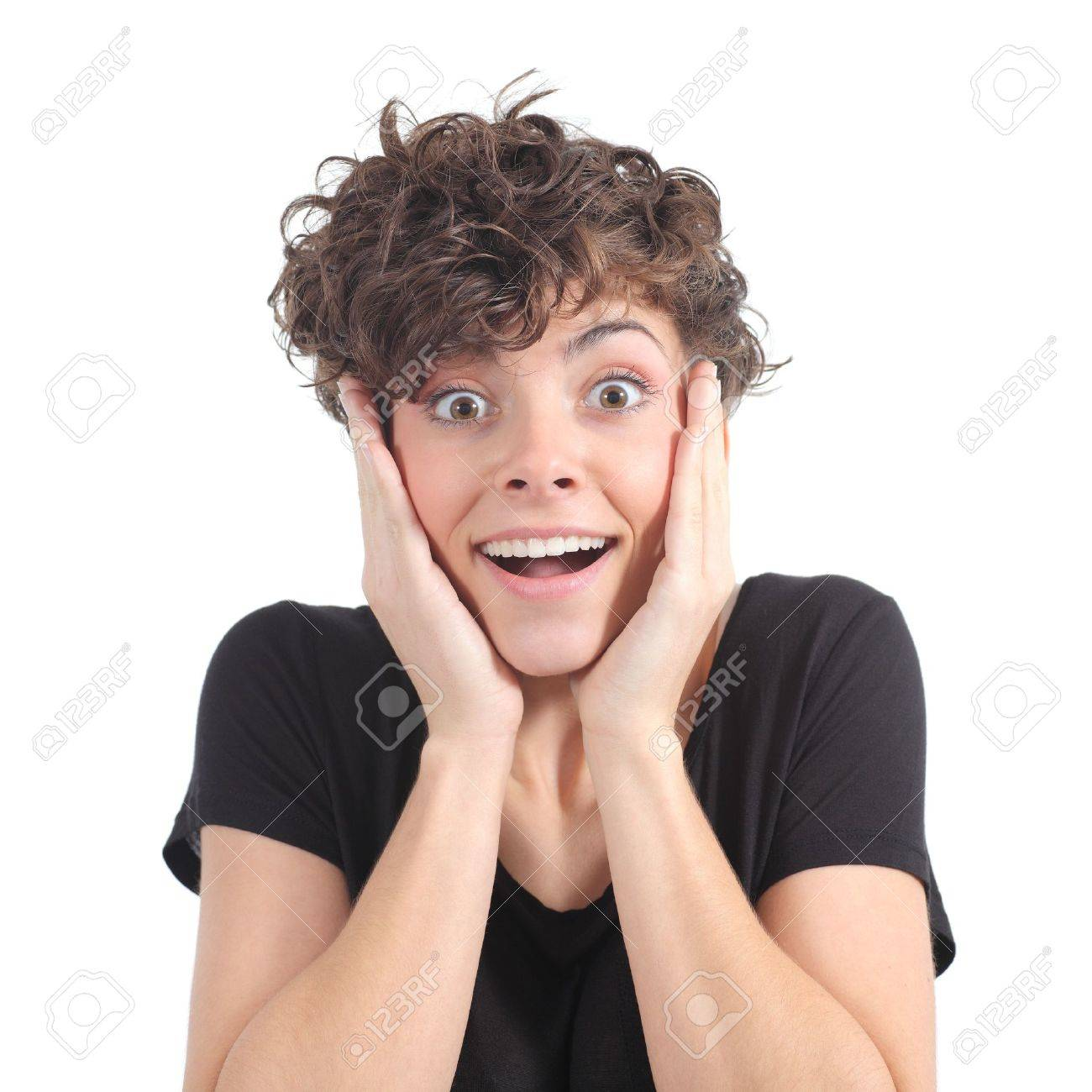 Euphoric expression of a woman with her hands on the face on a white isolated background Stock Photo - 18567696