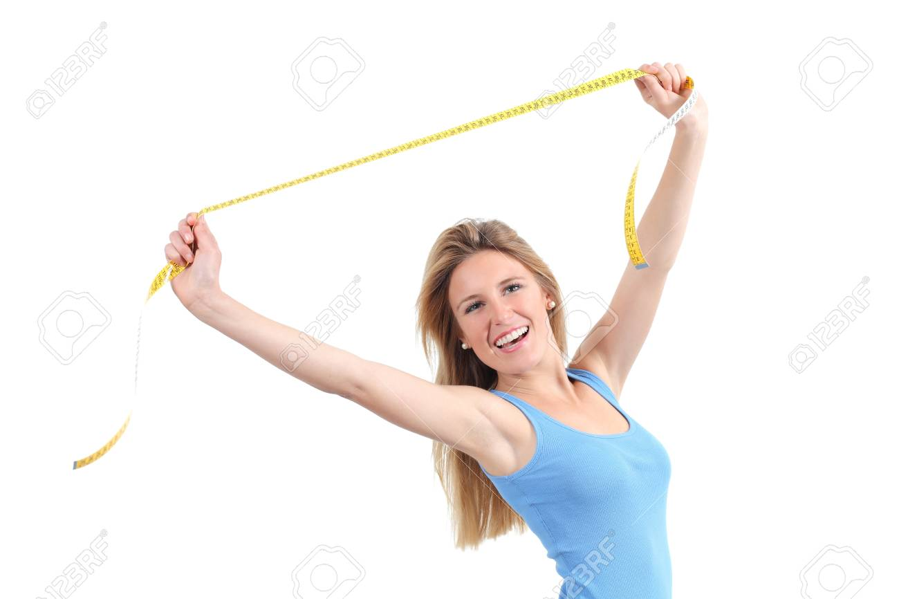 Pretty woman happy stretching a measure tape isolated on a white background Stock Photo - 19609546