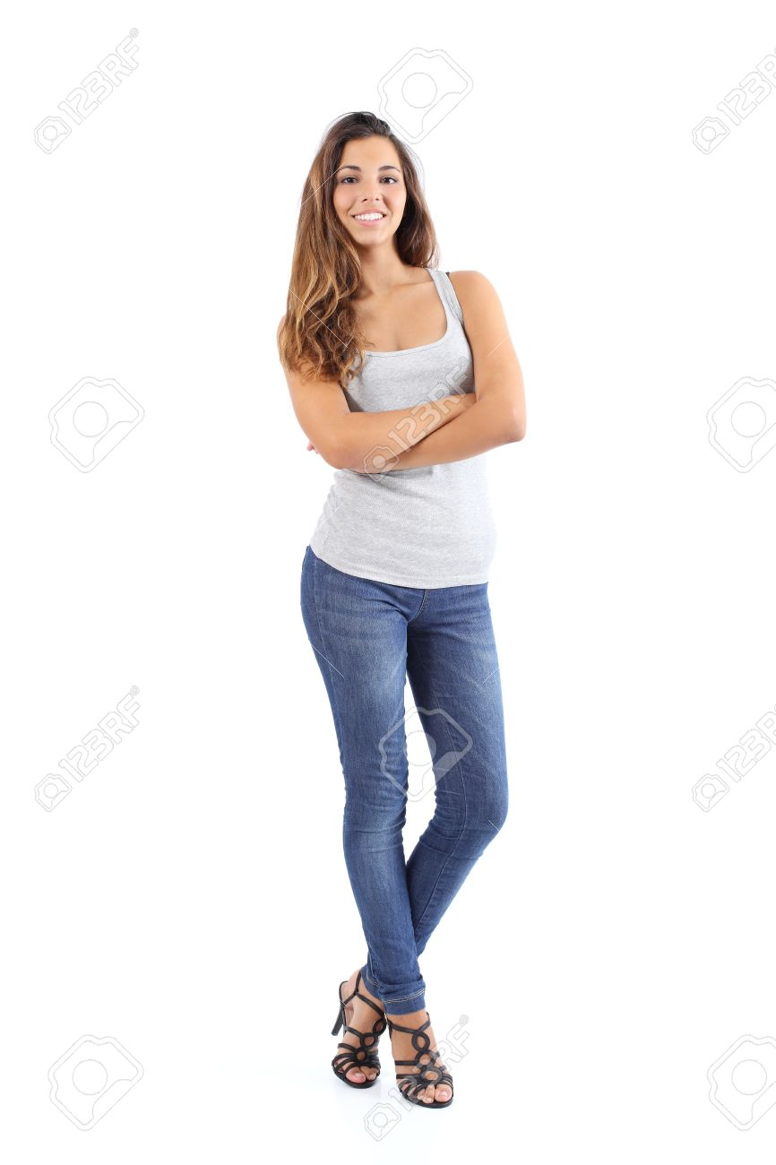 Beautiful model woman posing standing isolated on a white background - 22071391