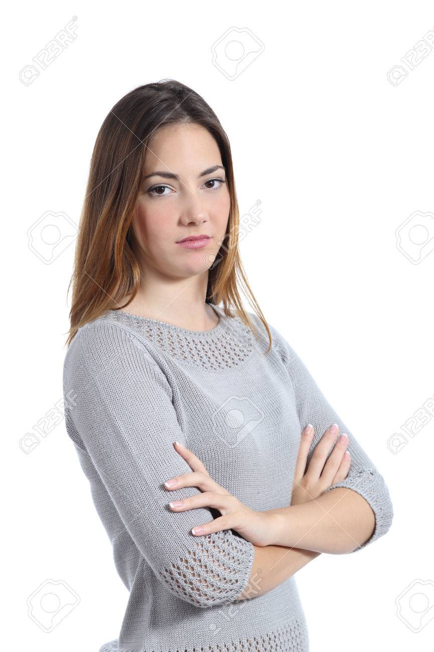 Woman posing disgusted with folded arms isolated on a white background - 37323151