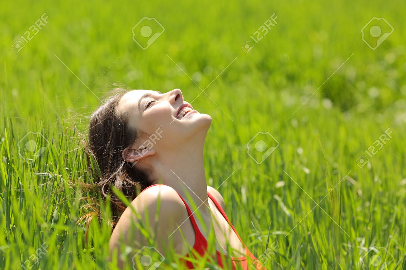 Happy Girl Face Breathing Fresh Air And Enjoying The Sun In A Meadow Summer