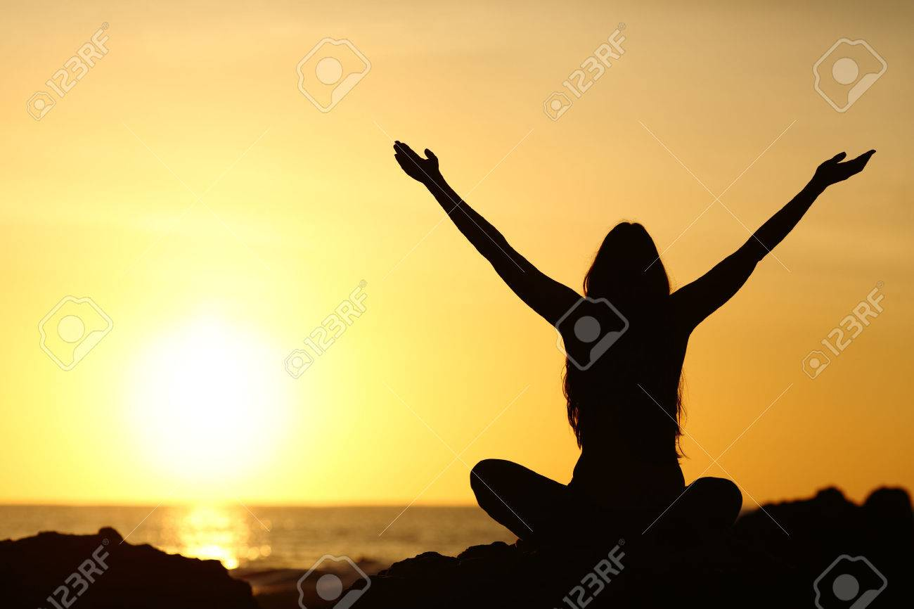 Back view portrait silhouette of a happy woman raising arms in a new day looking at warm sun at sunrise on the beach with the sea in a beautiful background - 60223164