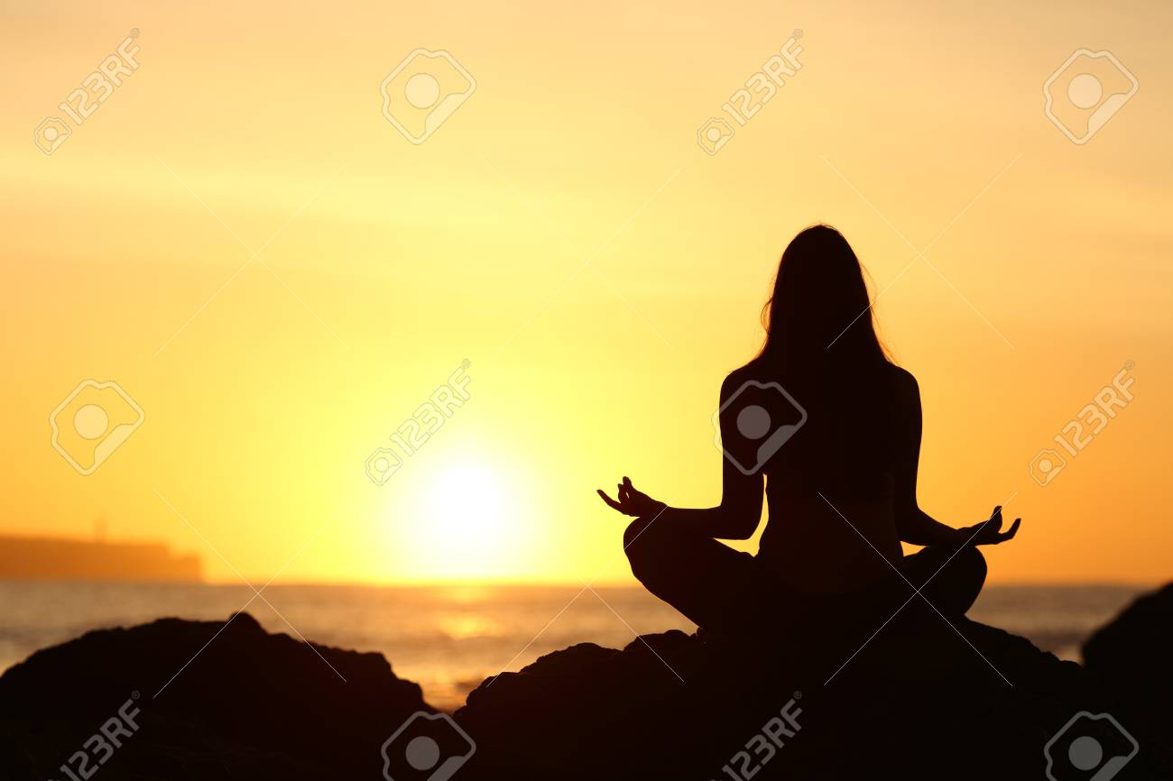 Back View Of A Full Body Of Woman Silhouette Sitting Doing Yoga Stock Photo Picture And Royalty Free Image Image 64944172