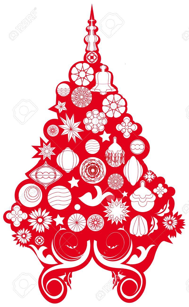 Albero Di Natale Rosso.Vettoriale Albero Di Natale Rosso E Bianco Image 5563440