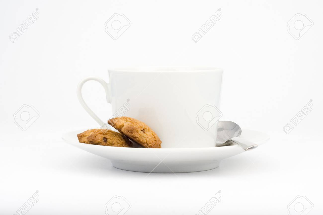white cup and cookie isolated over white Stock Photo - 3503989
