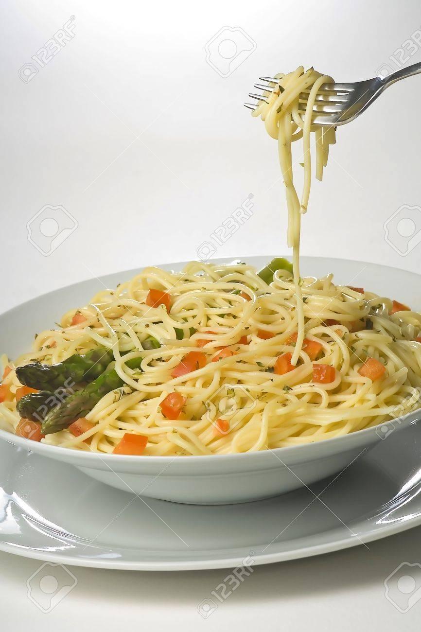 natural fresh spaghetti with tomato sauce and asparagus Stock Photo - 3876718