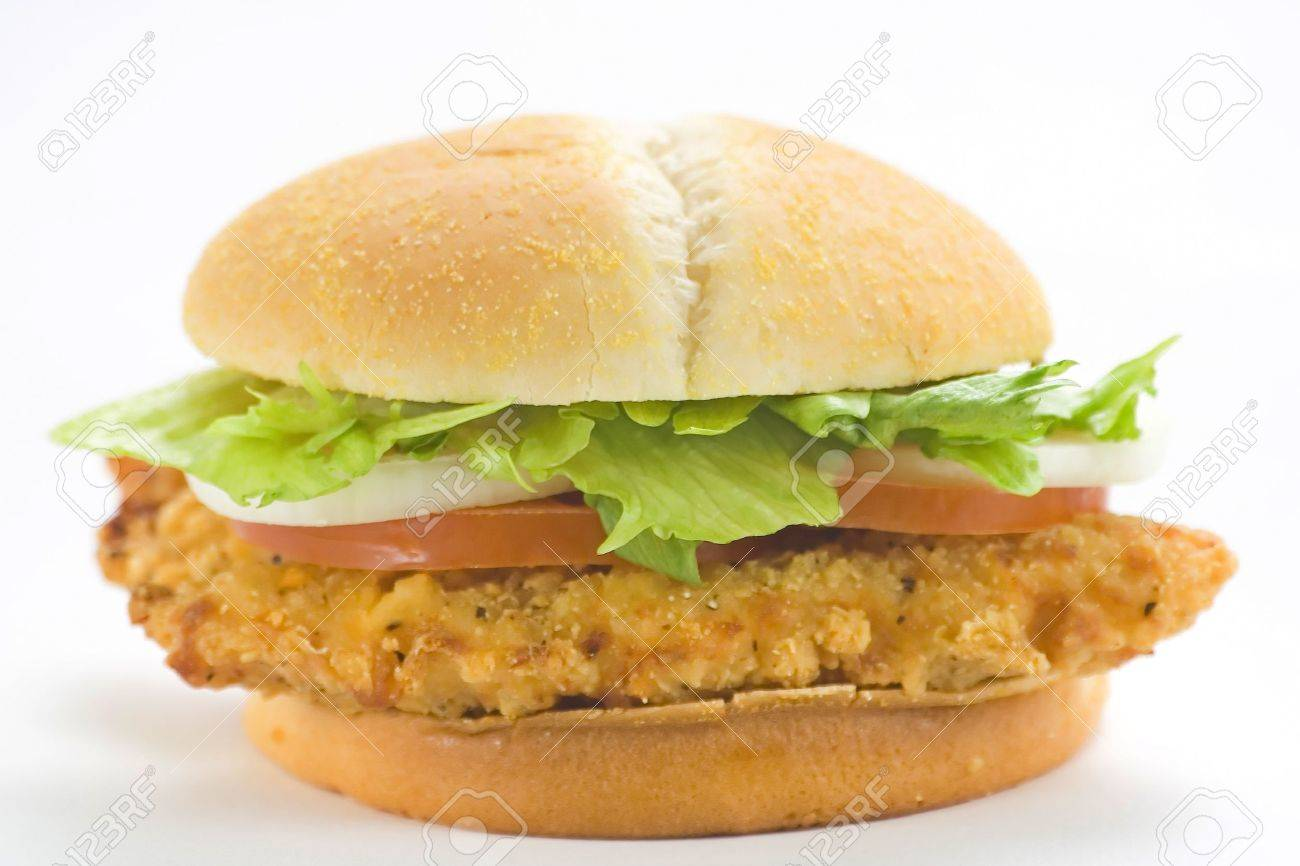 crisp chicken burger with tomato onion cheese lettuce isolated Stock Photo - 4302566