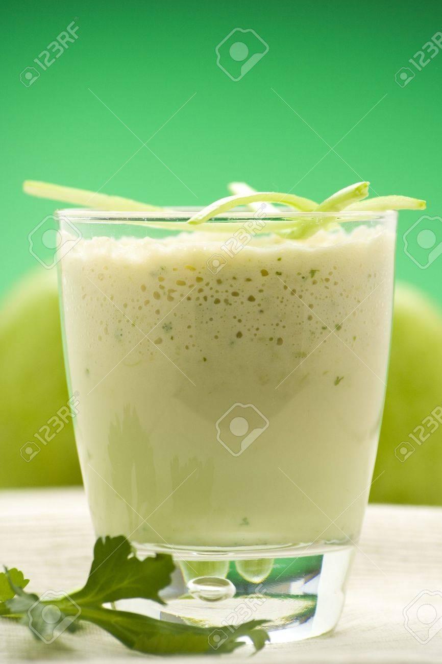 fresh fruit milk shake apple and celery Stock Photo - 4581024