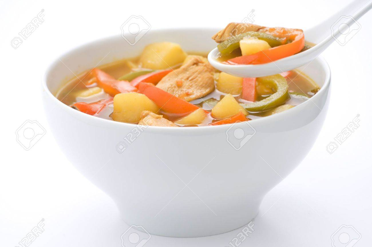 Chinese chicken soup with potatoes and peppers Stock Photo - 4590689