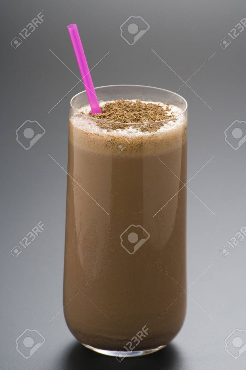 refreshing chocolate shake with chocolate Birutes isolated Stock Photo - 4719393