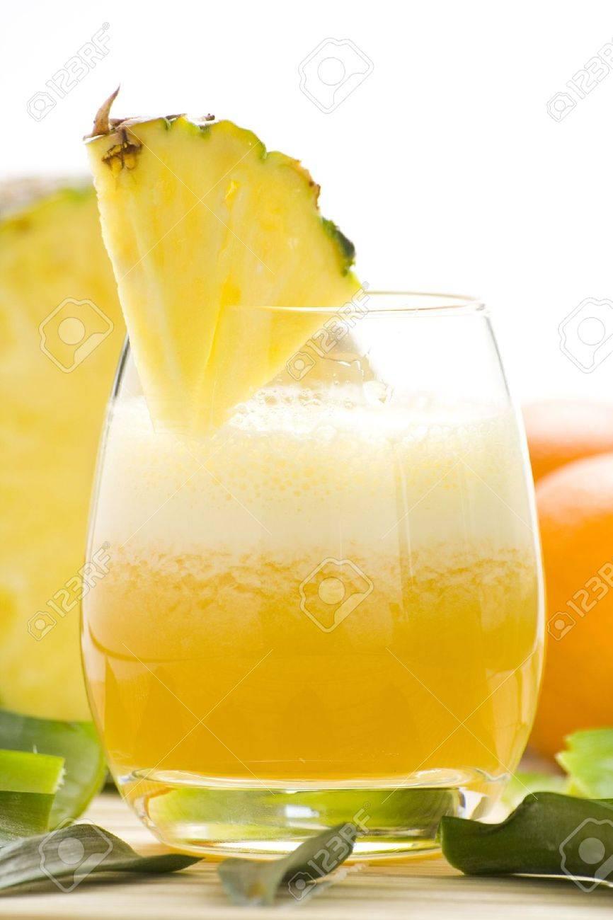 refreshing and creamy pineapple and orange milkshake Stock Photo - 4852318