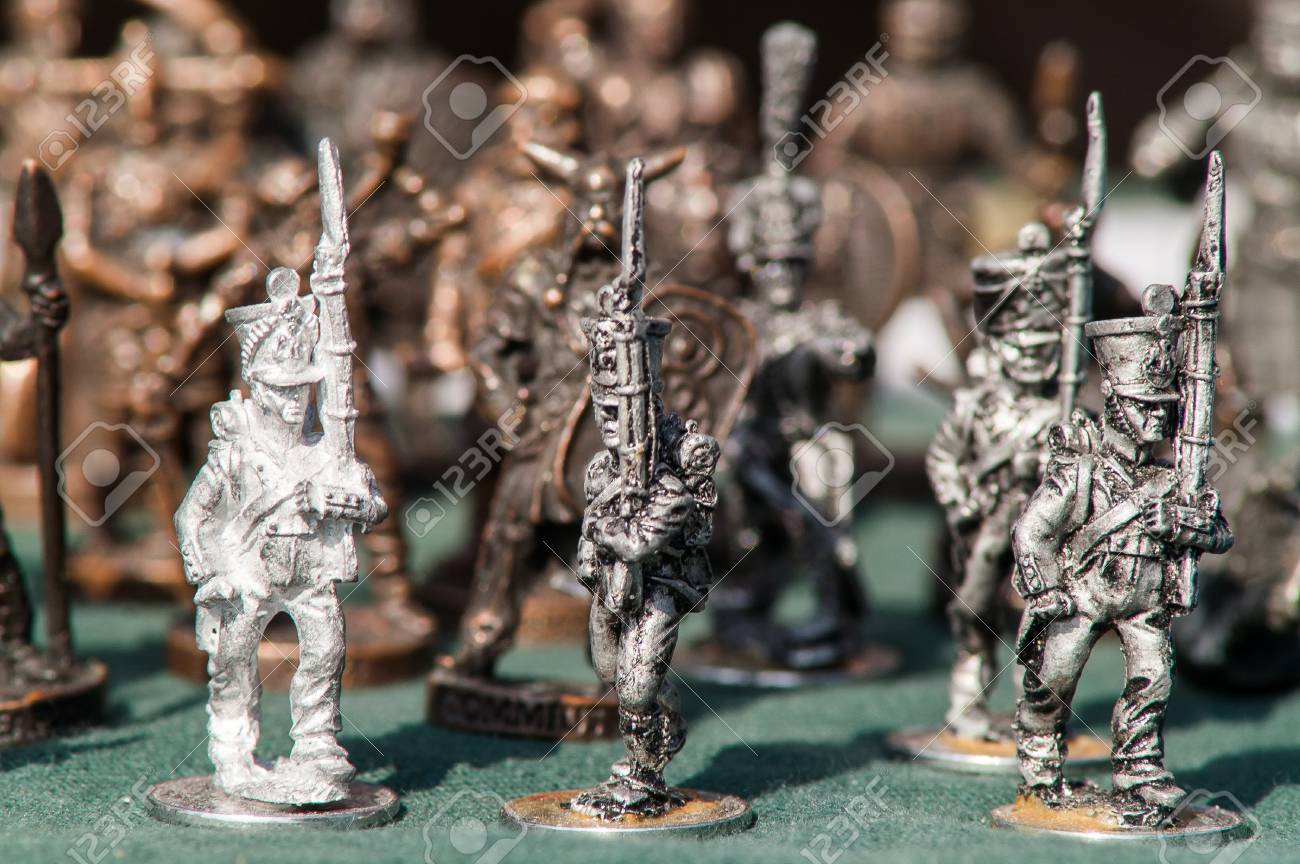 A variety of toy soldiers close up on holiday