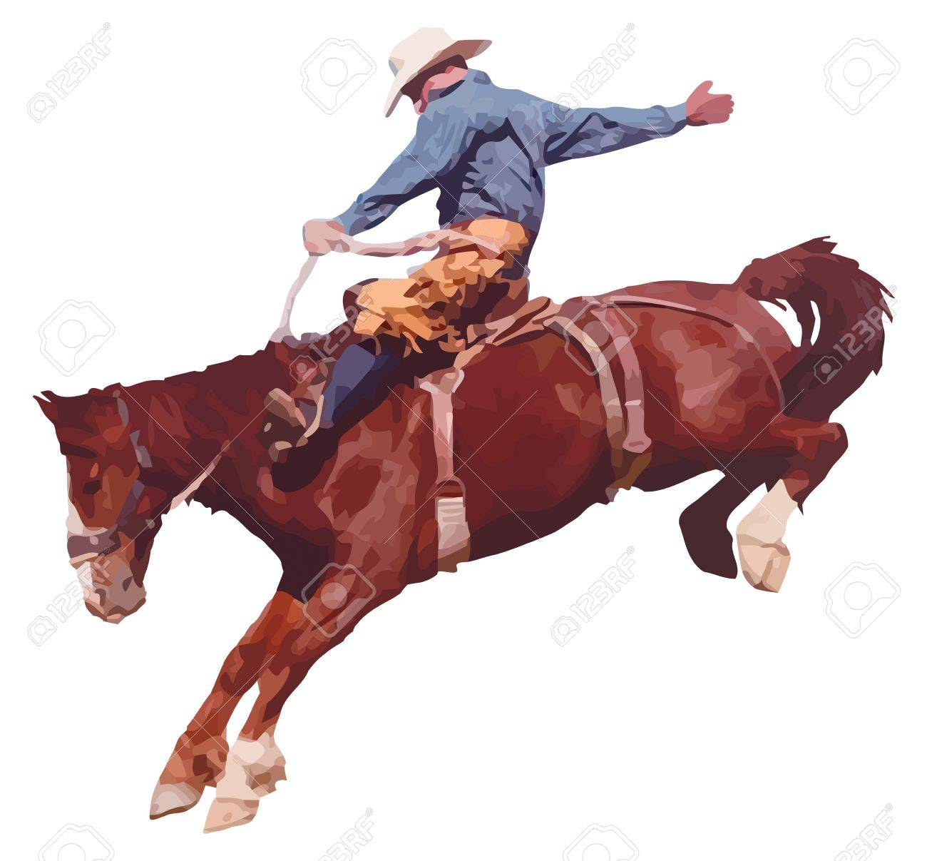 Illustration Of Cowboy Riding Horse At Rodeo Royalty Free Cliparts