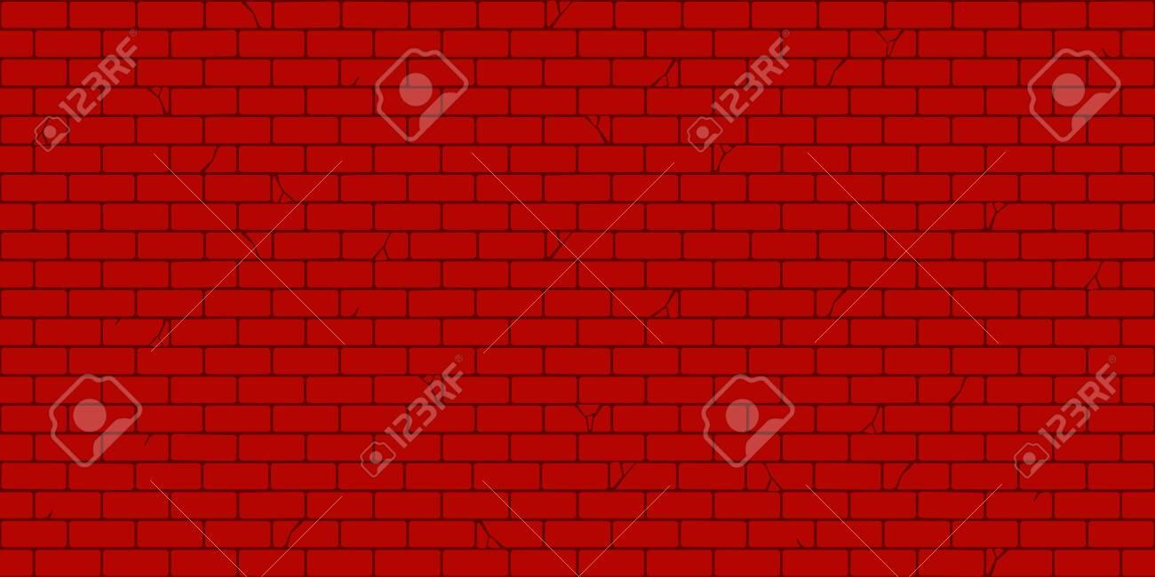 Flat Red Brick Wall Seamless Texture Decorative Background Vector Illustration Art - 156589954