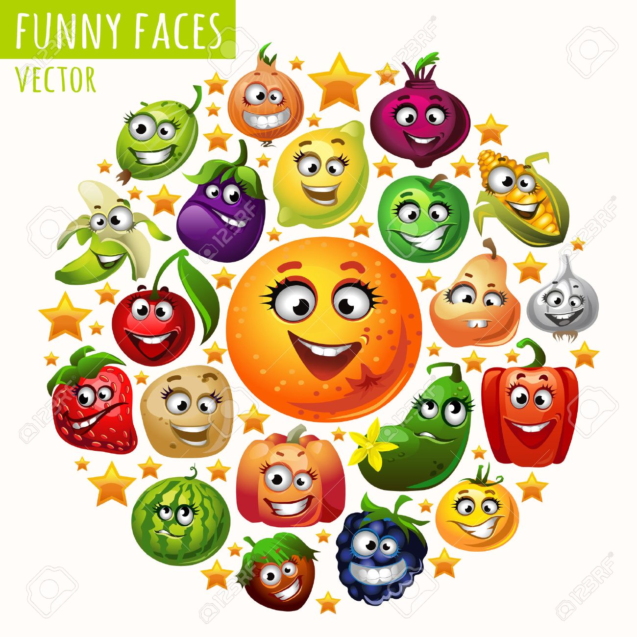 the circle of fruits and vegetables funny faces royalty free