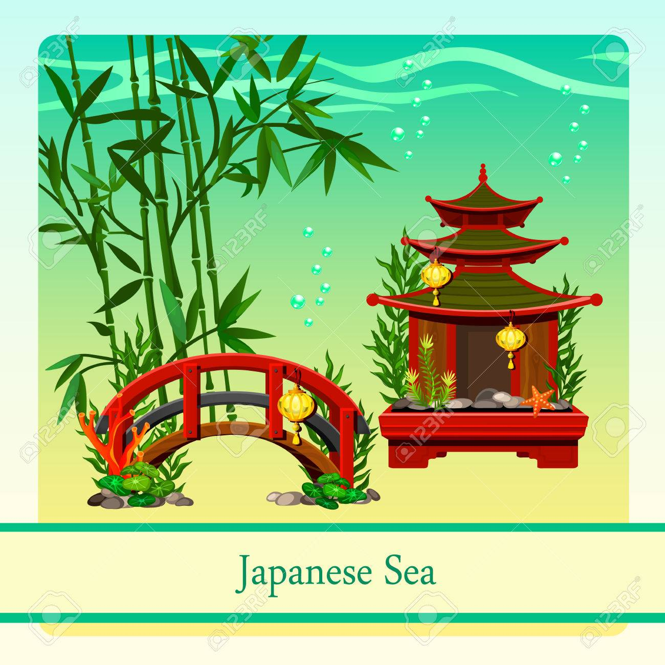 Japanese Sea With Elements Of Japanese Culture Stock Vector 45989325