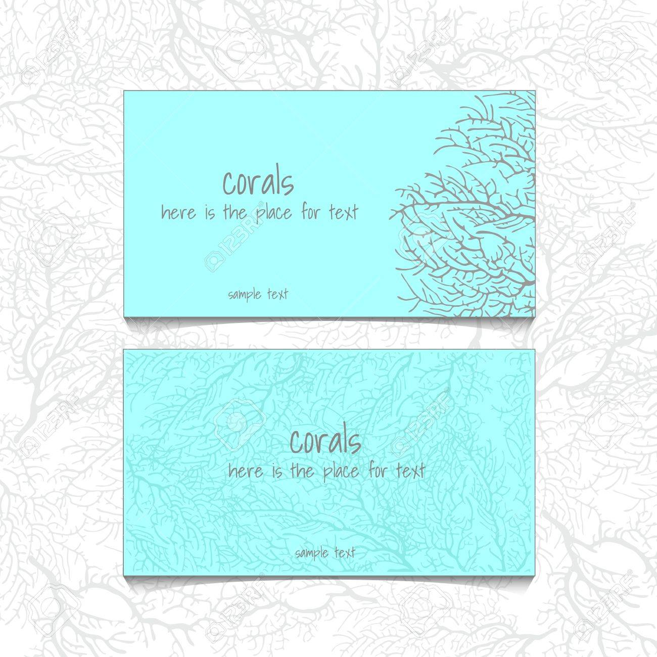 Coral design horizontal business card name card or visiting coral design horizontal business card name card or visiting card with front and back side colourmoves
