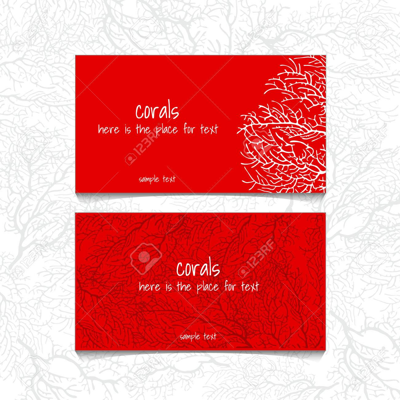 Coral Design Horizontal Business Card, Name Card Or Visiting ...