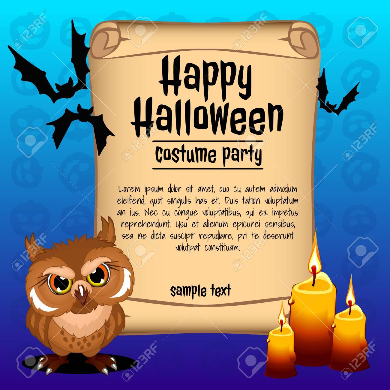 wicked owl with three candles, banner happy halloween royalty free