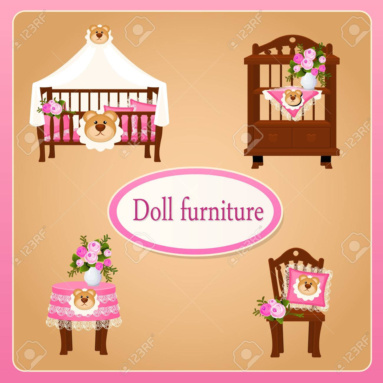 Dollhouse Furniture For Children S Room Royalty Free Cliparts