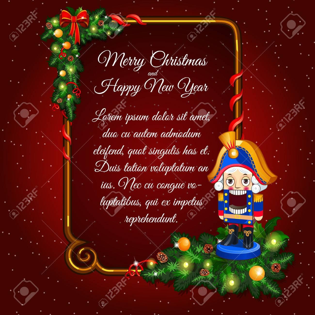 Postkarte Glückliches Neues Jahr Und Frohe Weihnachten Mit Soldat ...