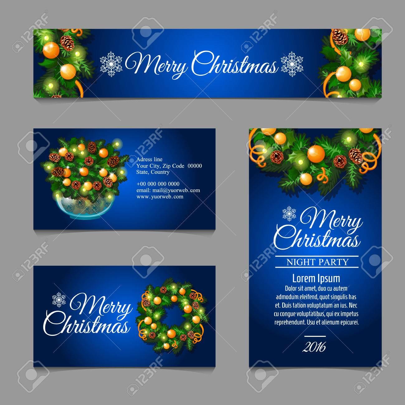Quatre Carte De Visite Avec Dcoration Nol Sur Fond Bleu Fonc