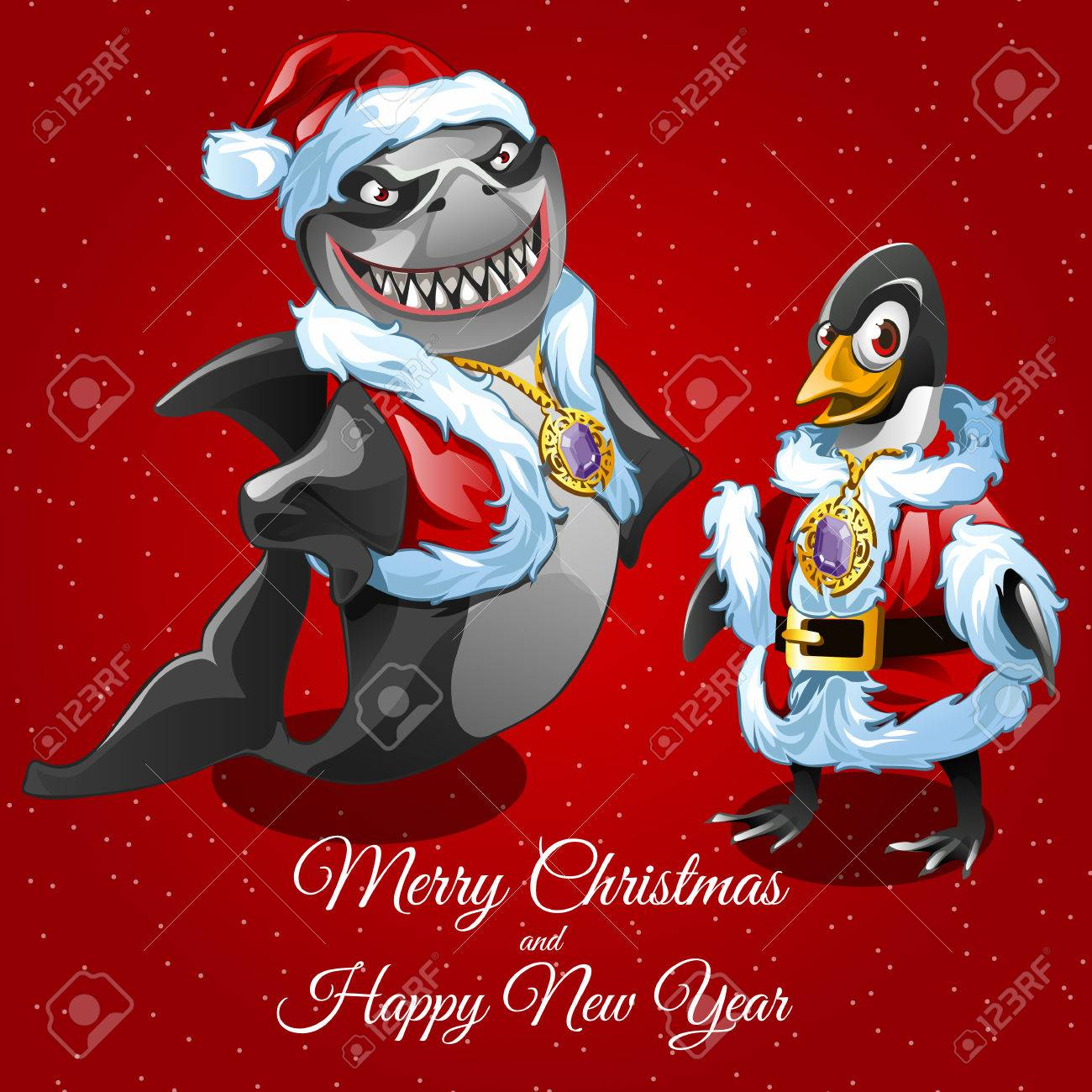 Wünscht Frohe Weihnachten Von Haien Sankt Und Sein Freund Geflügel ...