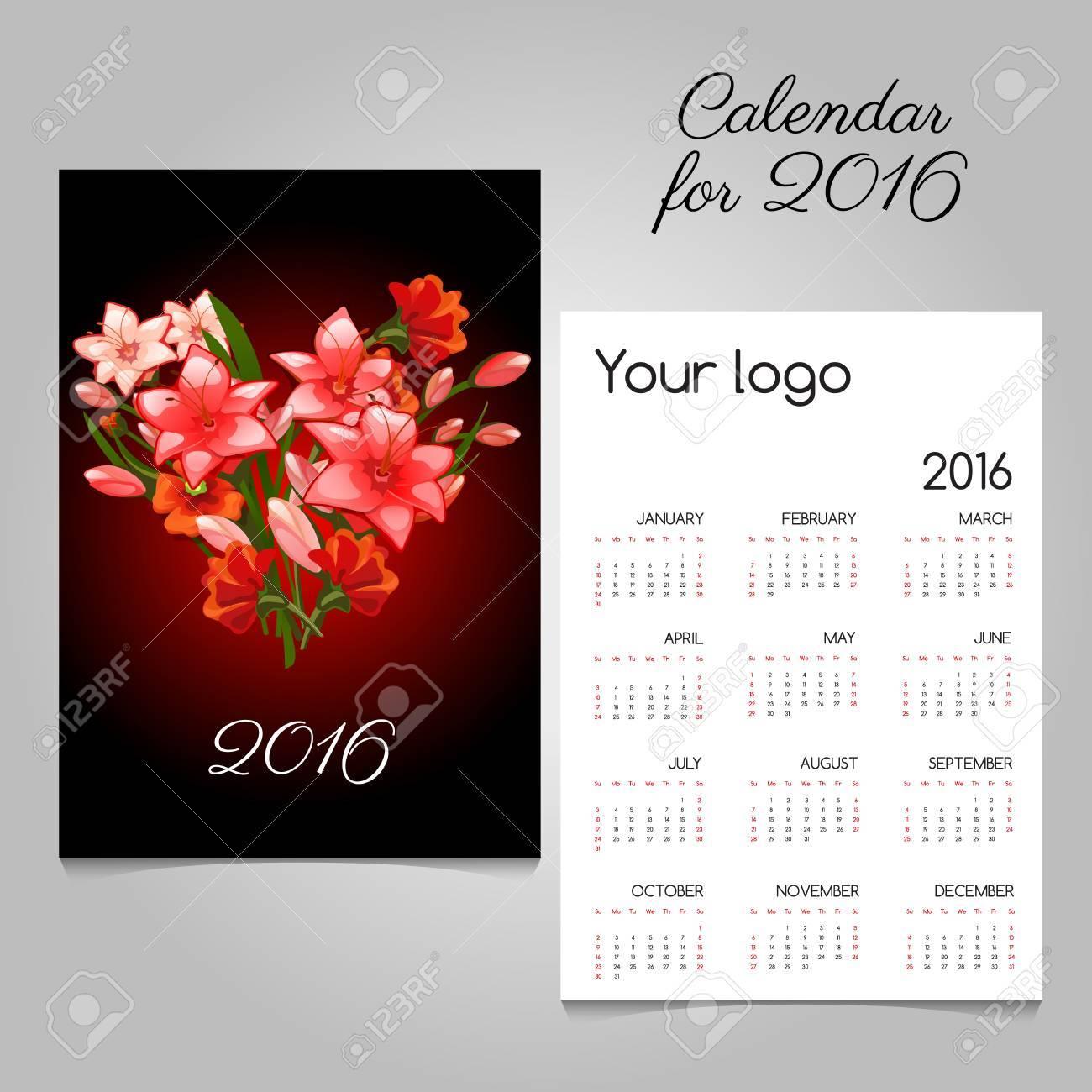 calendrier élégant noir avec lys rouges bouquet en forme de coeur