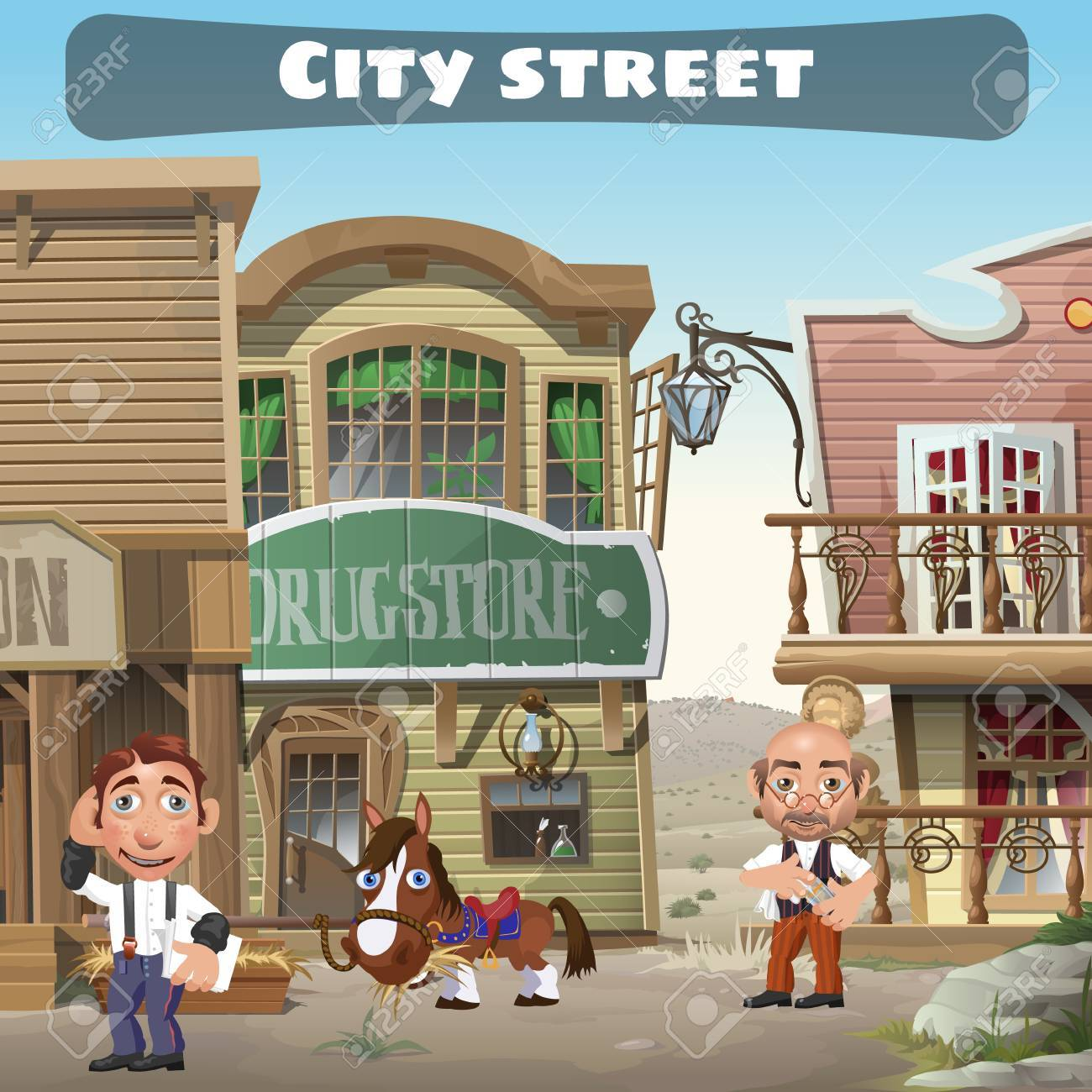 Usual city street in the wild West, two residents, houses, horse - 49495481