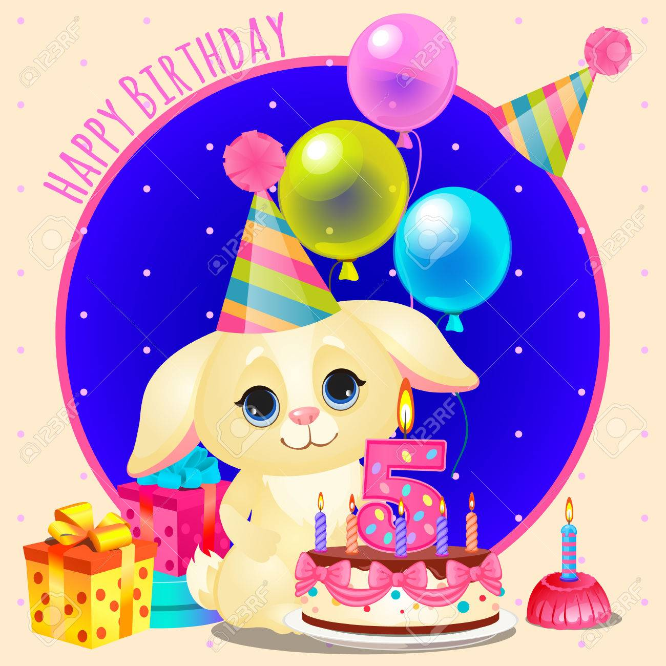Happy Birthday Greeting Card With Cute Dog And Cake Candle In The Shape