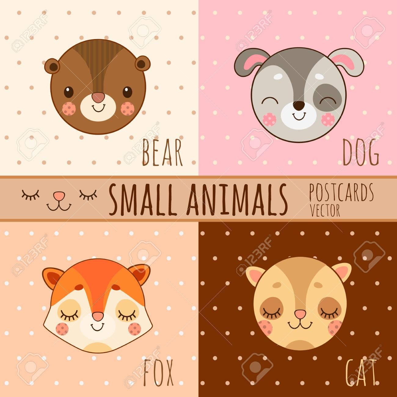Vier Einfache Nette Bilder Kopf Der Tiere Hund Katze Fuchs Bär