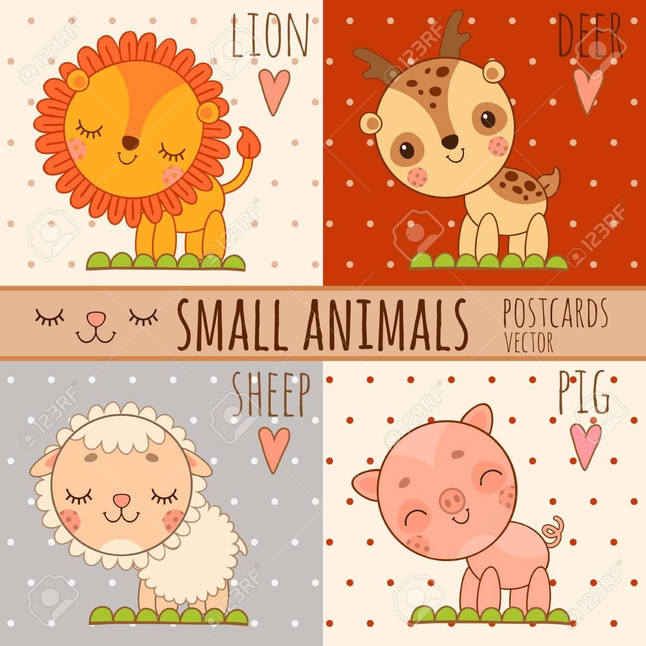 Vier Einfache Nette Bilder Von Tieren Löwe Hirsch Schaf Schwein