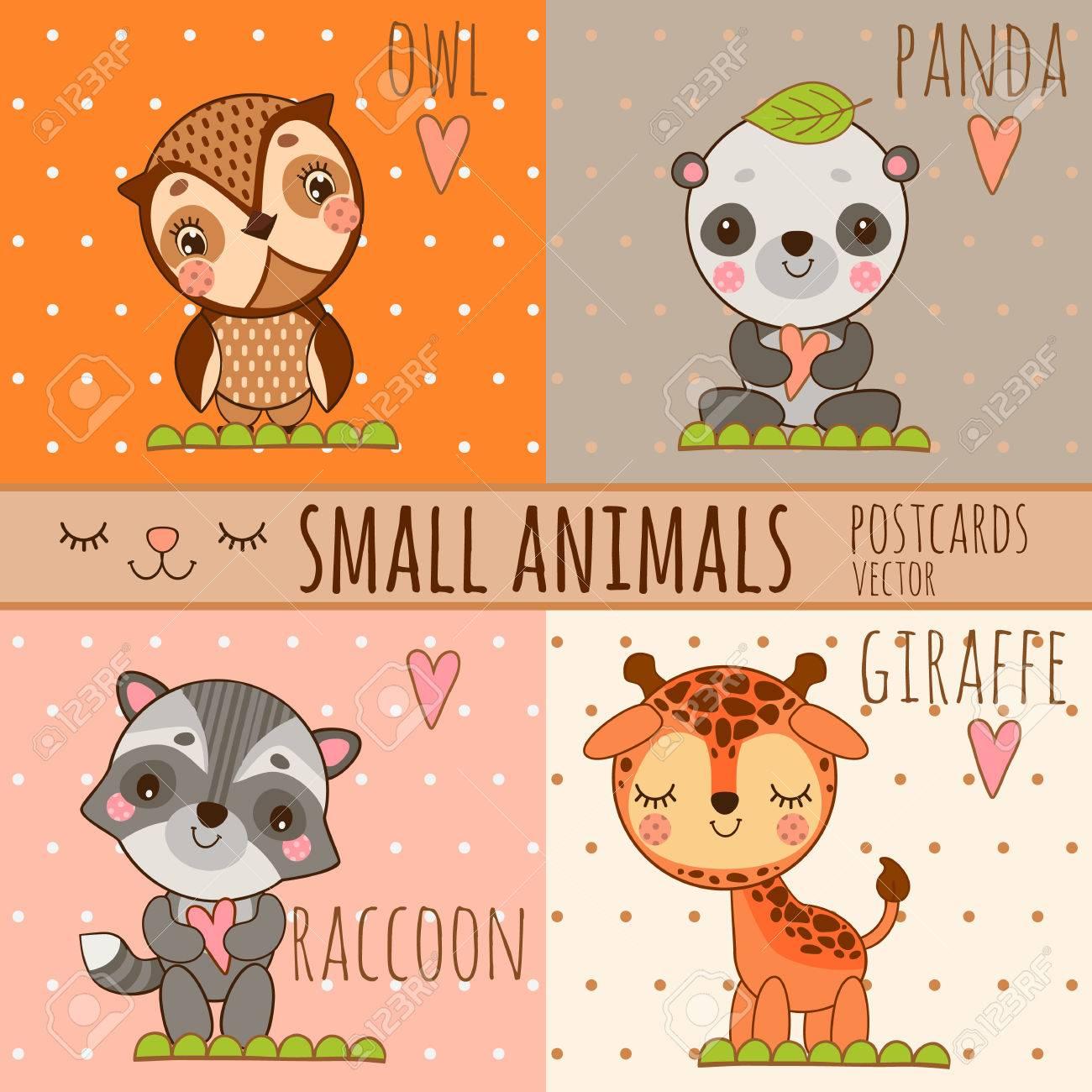 Vier Einfache Nette Bilder Von Tieren Eule Panda Giraffe