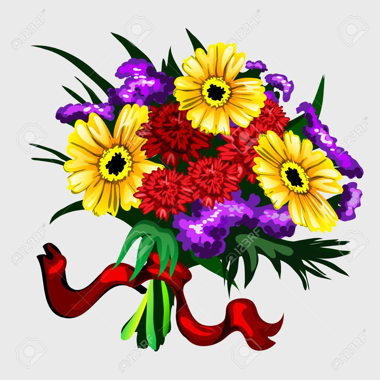 Bouquet Of Yellow Red And Purple Flowers With Ribbon For Your