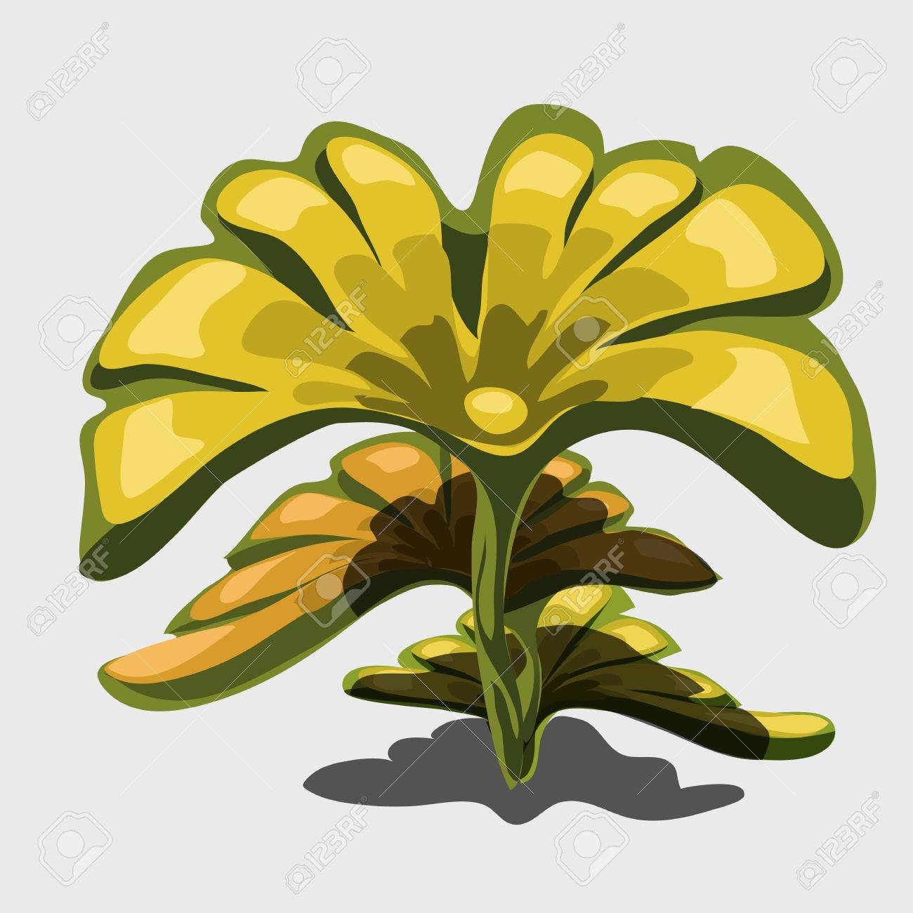 Yellow Exotic Plant With Large Leaves Vector Cartoon Image Royalty