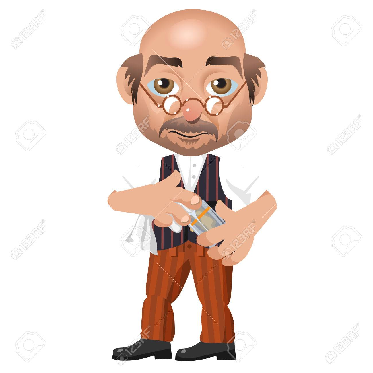Bald Man With Glasses Bartender With A Glass Cartoon Character Royalty Free Cliparts Vectors And Stock Illustration Image 57600919