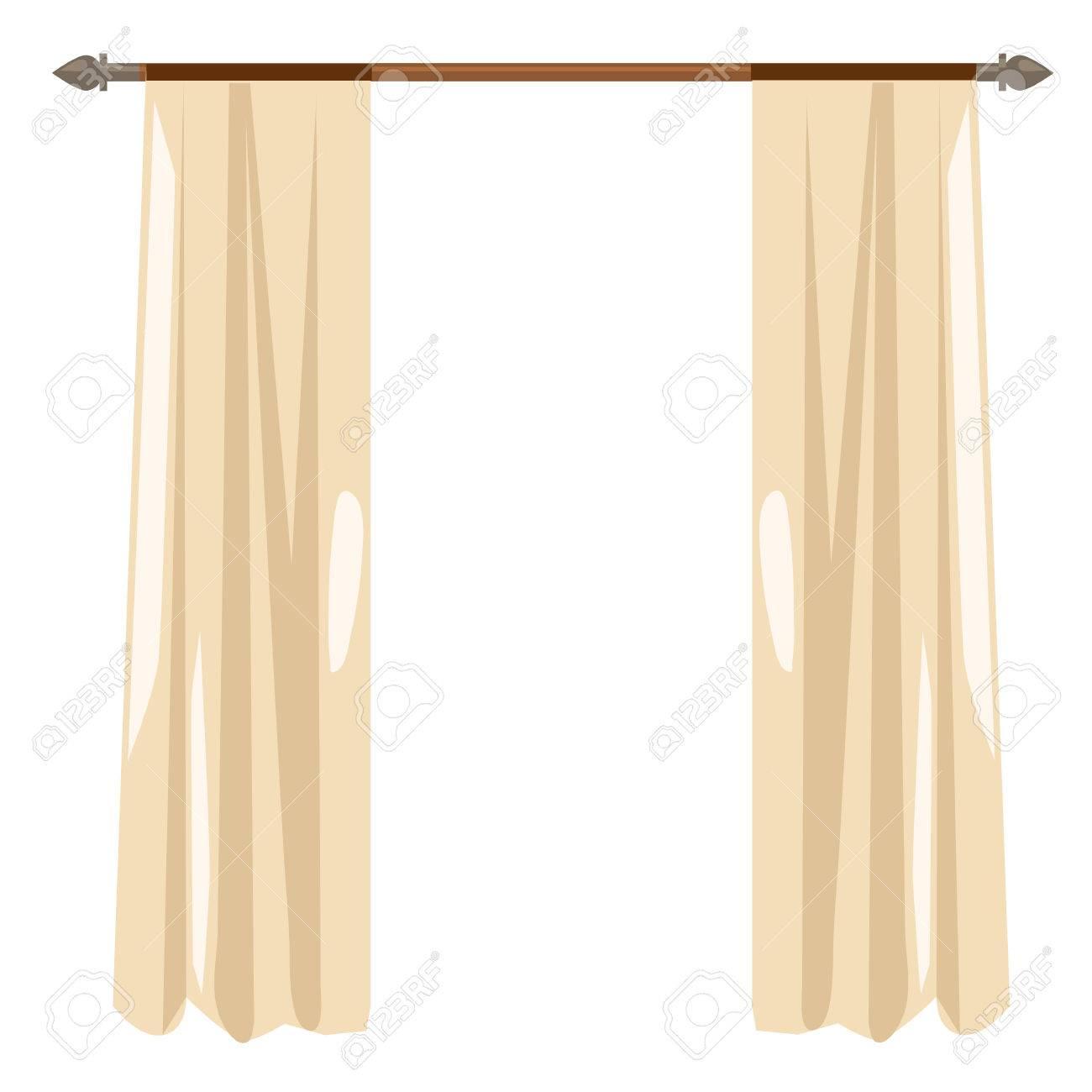 Beige Kitchen Curtains On The Ledge, Vector Illustration, Decor ...