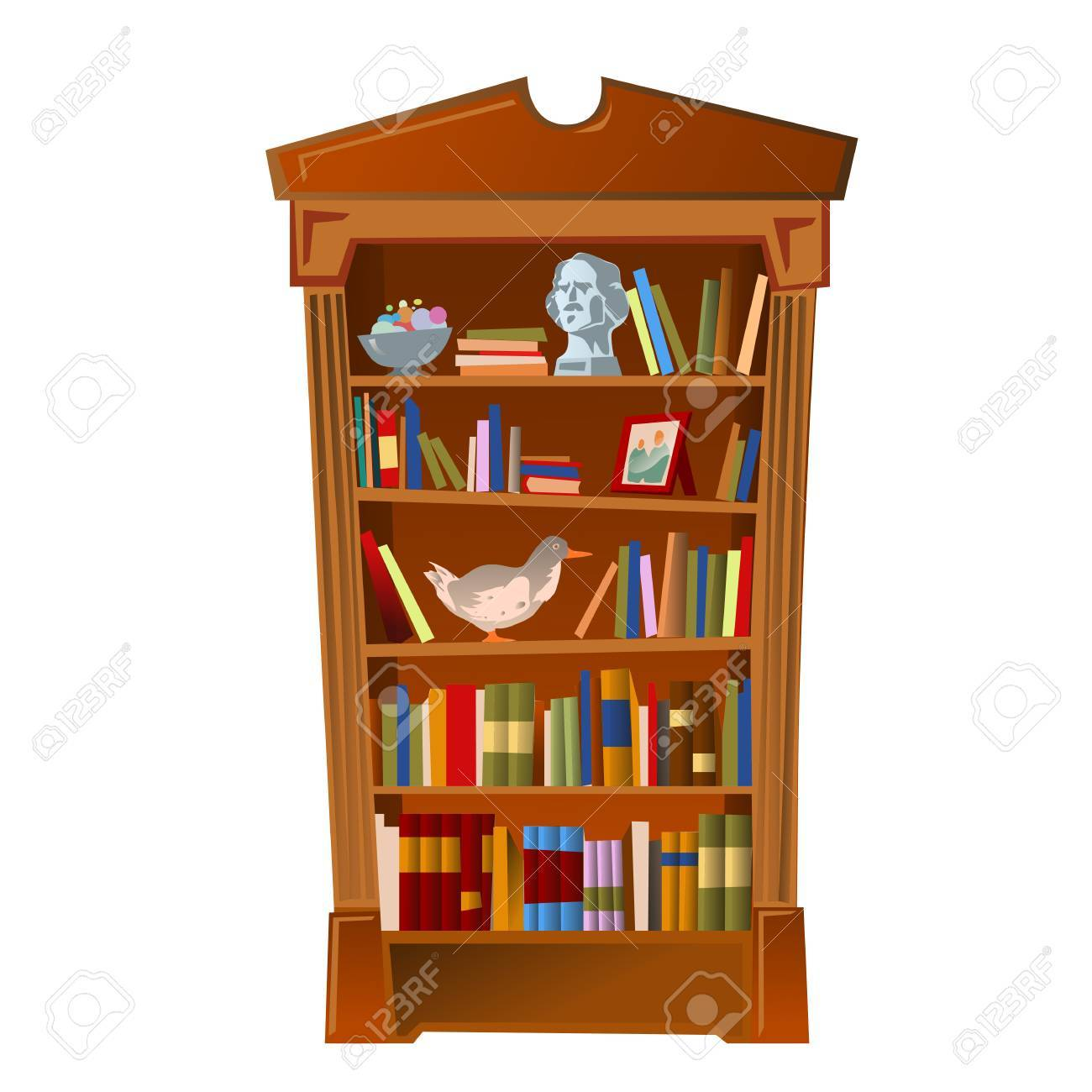 Bookshelf With Bust Photo Frame And Toy Furniture Interior On A White Background Stock