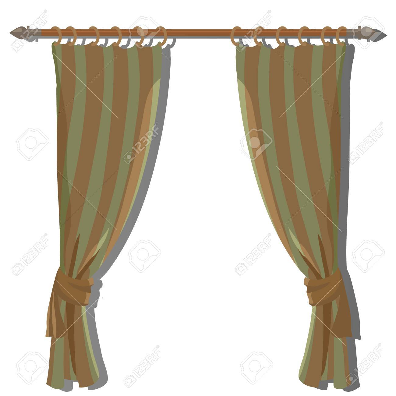 Green Striped Kitchen Curtains On The Ledge, Vector Decor Stock Vector    58060445
