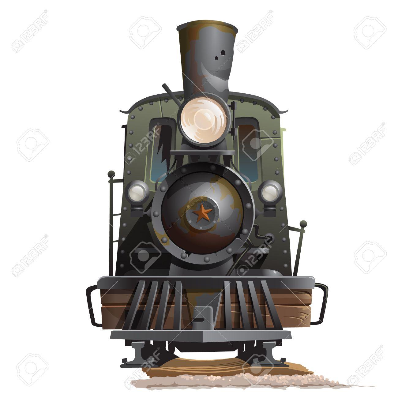 Old train locomotive, front view. Vintage transport vector - 58852974