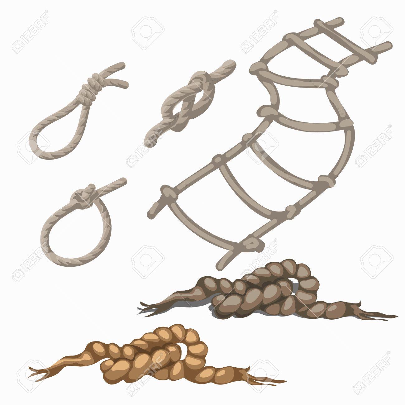 conjunto de elementos de cuerda escalera lazo nudos bucle seis artculos