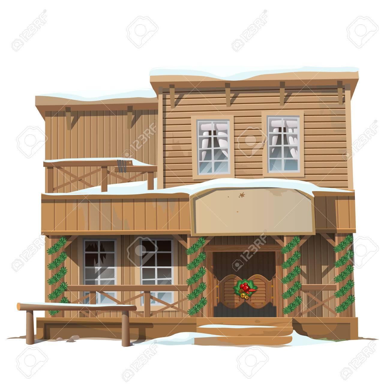 Salon classique en bois décoré pour Noël, série de bâtiments vecteur