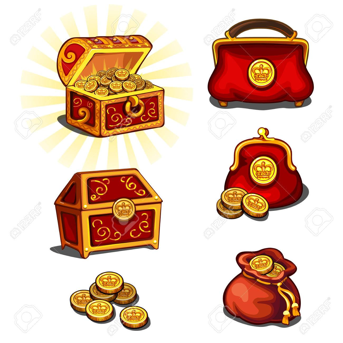 Six Portemonnee.Great Wealth Set Chest Purse And Gold Coins Six Vector Icons