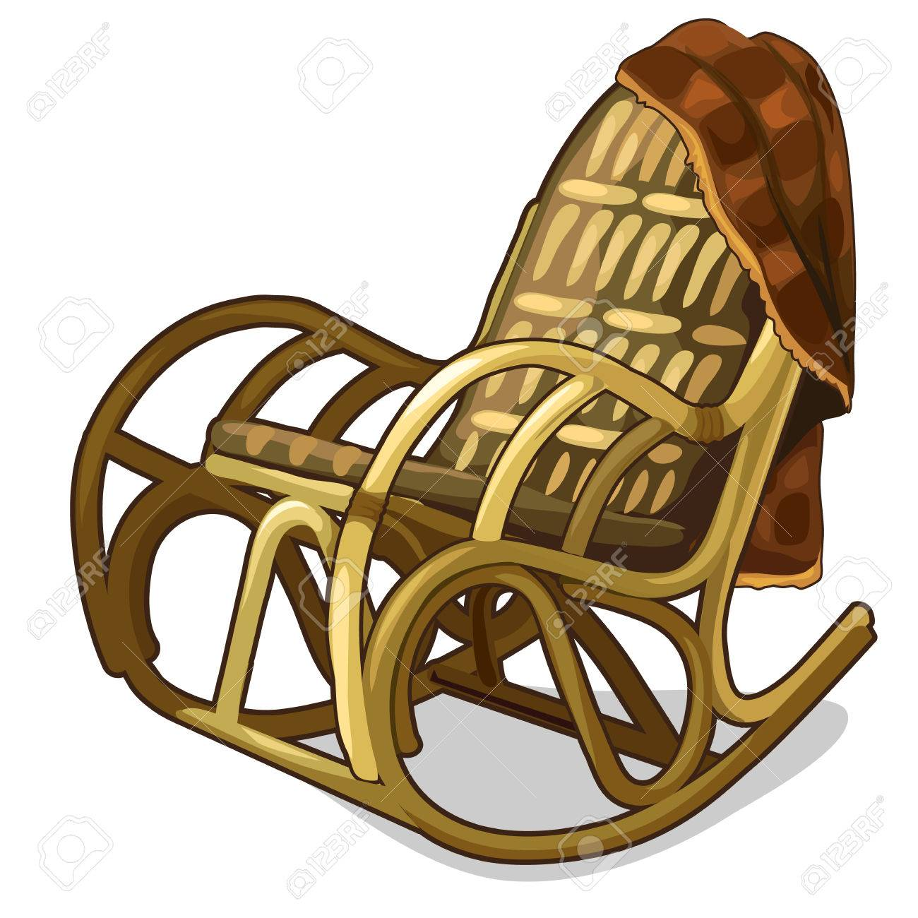 Chaise A Bascule Confortable Vintage Avec Couverture Illustration