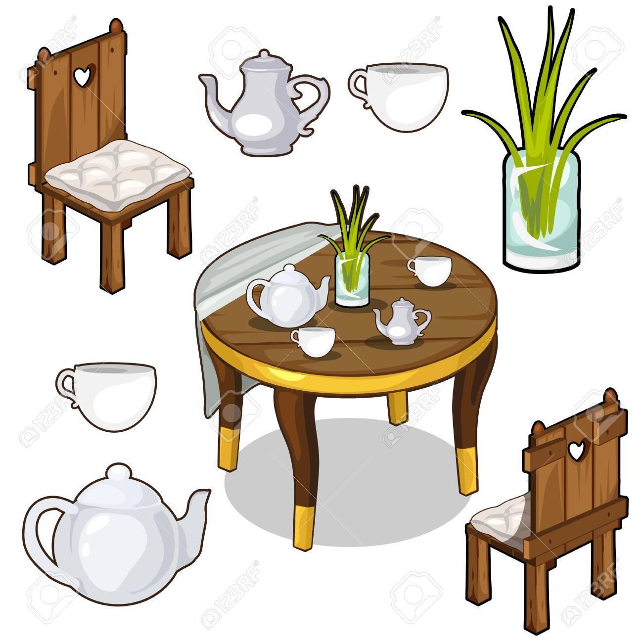 Conjunto de muebles de cocina de madera en estilo retro con una planta y un  utensilio. Ilustración de vector aislado en estilo de dibujos animados